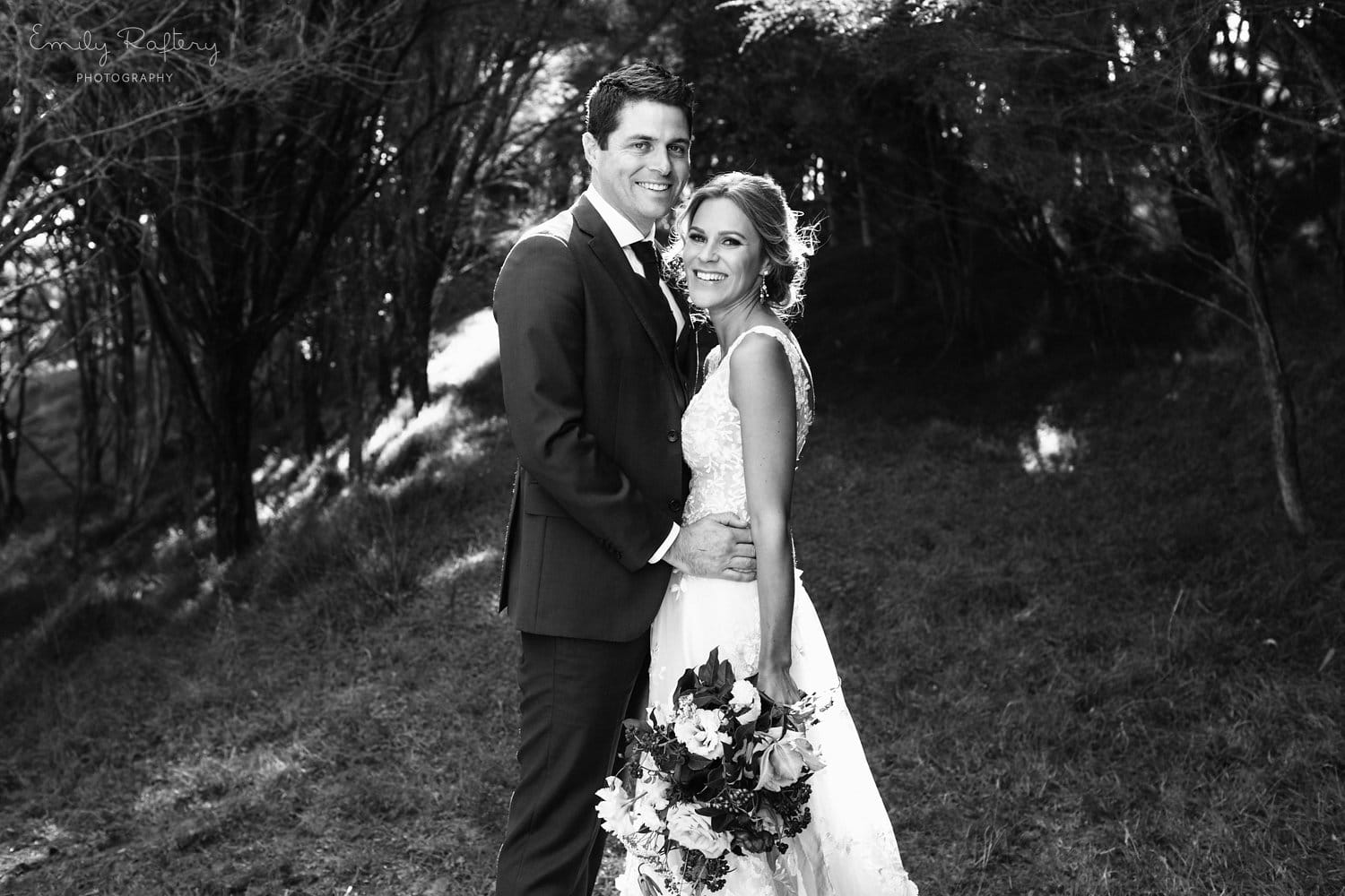Real Weddings | Vinka Design | Real Brides Wearing Vinka Gowns | Helena and Tim black and white portrait photo at Kauri Bay Boomrock