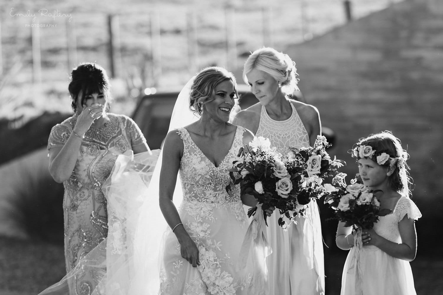Real Weddings | Vinka Design | Real Brides Wearing Vinka Gowns | Helena and Tim - Helena being and bridesmaids in black and white