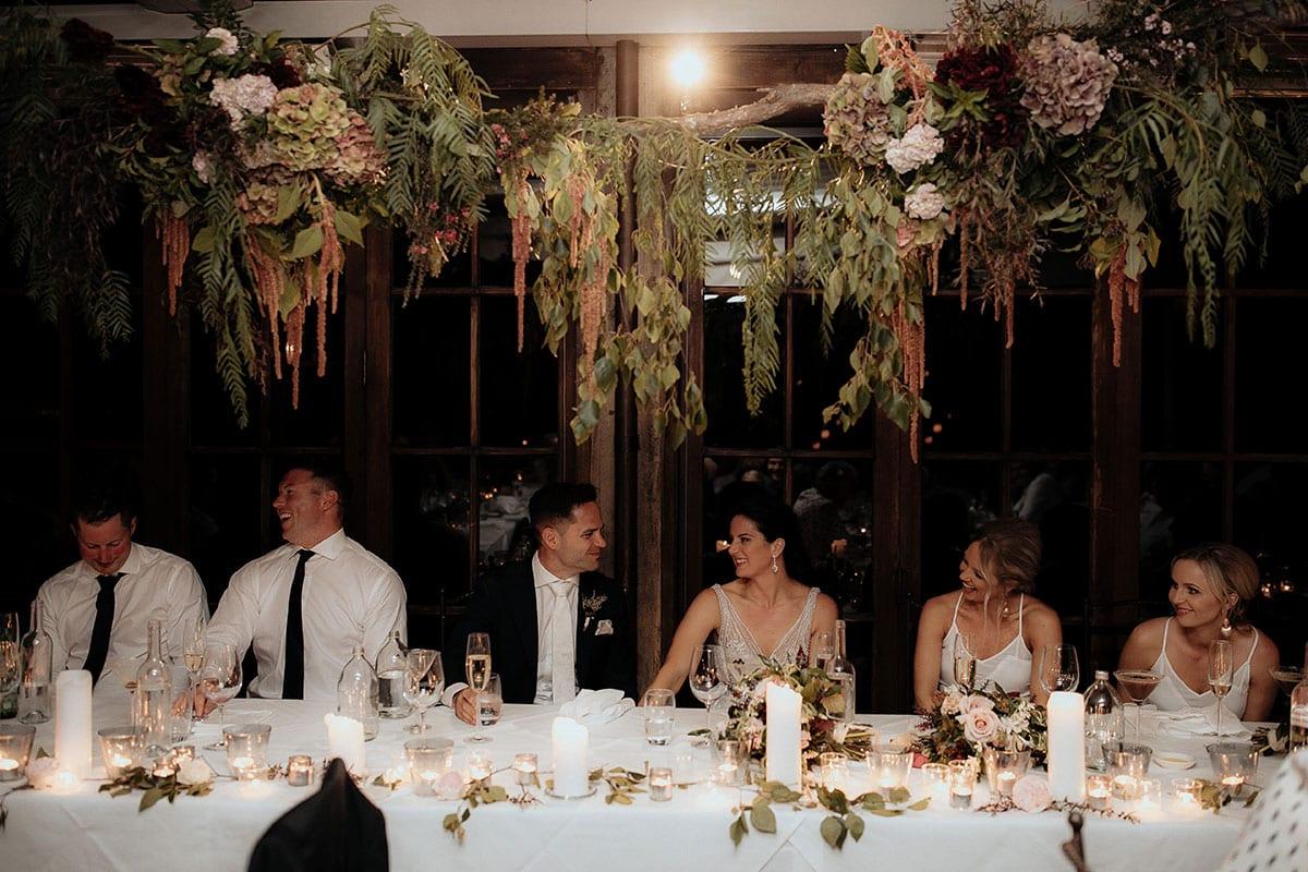 Real Weddings | Vinka Design | Real Brides Wearing Vinka Gowns | Lauren and Martyn at wedding reception bridal table