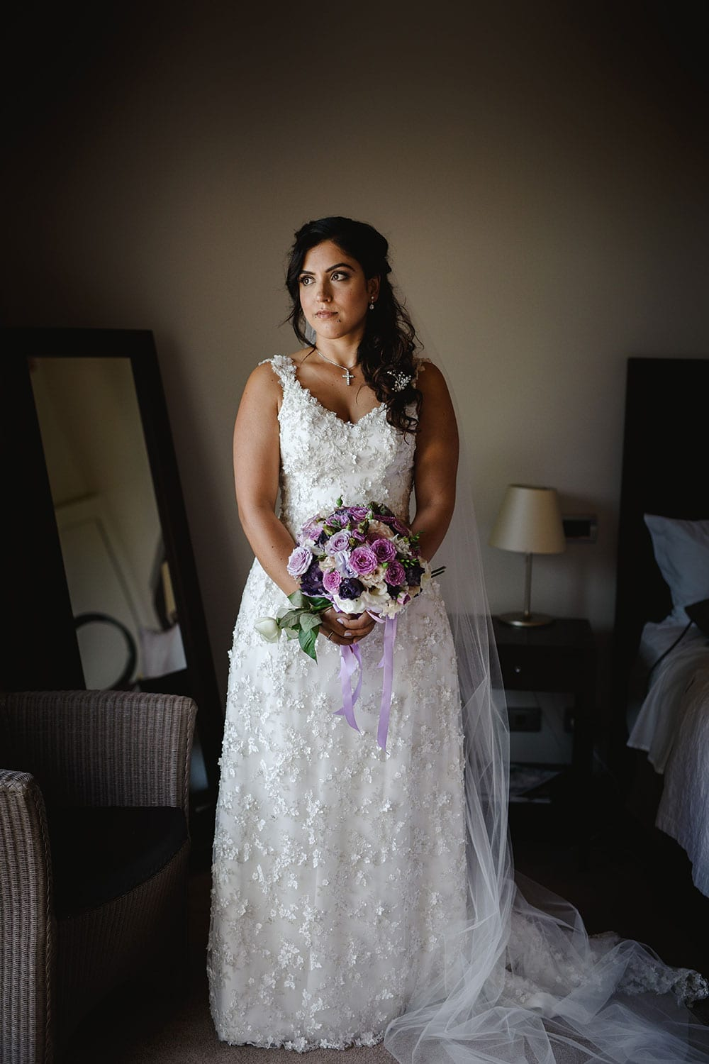 Real Weddings | Vinka Design | Real Brides Wearing Vinka Gowns | Ayesha and Nick - Ayesha indoors wearing gorgeous beaded floral lace, which fitted her to perfection.