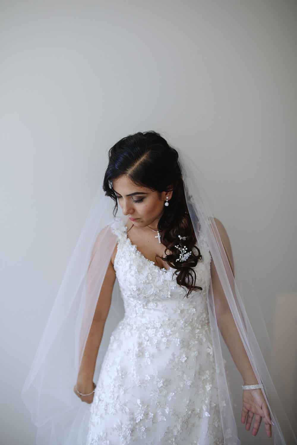 Real Weddings | Vinka Design | Real Brides Wearing Vinka Gowns | Ayesha and Nick - Ayesha portrait in bespoke gown with gorgeous beaded floral lace, which fitted her to perfection.