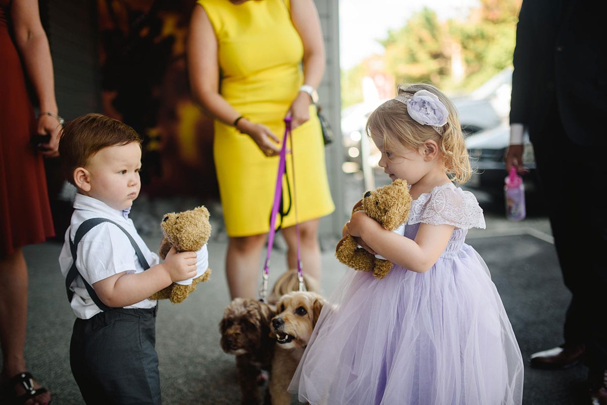 Real Weddings | Vinka Design | Real Brides Wearing Vinka Gowns | Ayesha and NIck - little girl and boy with teddy bears