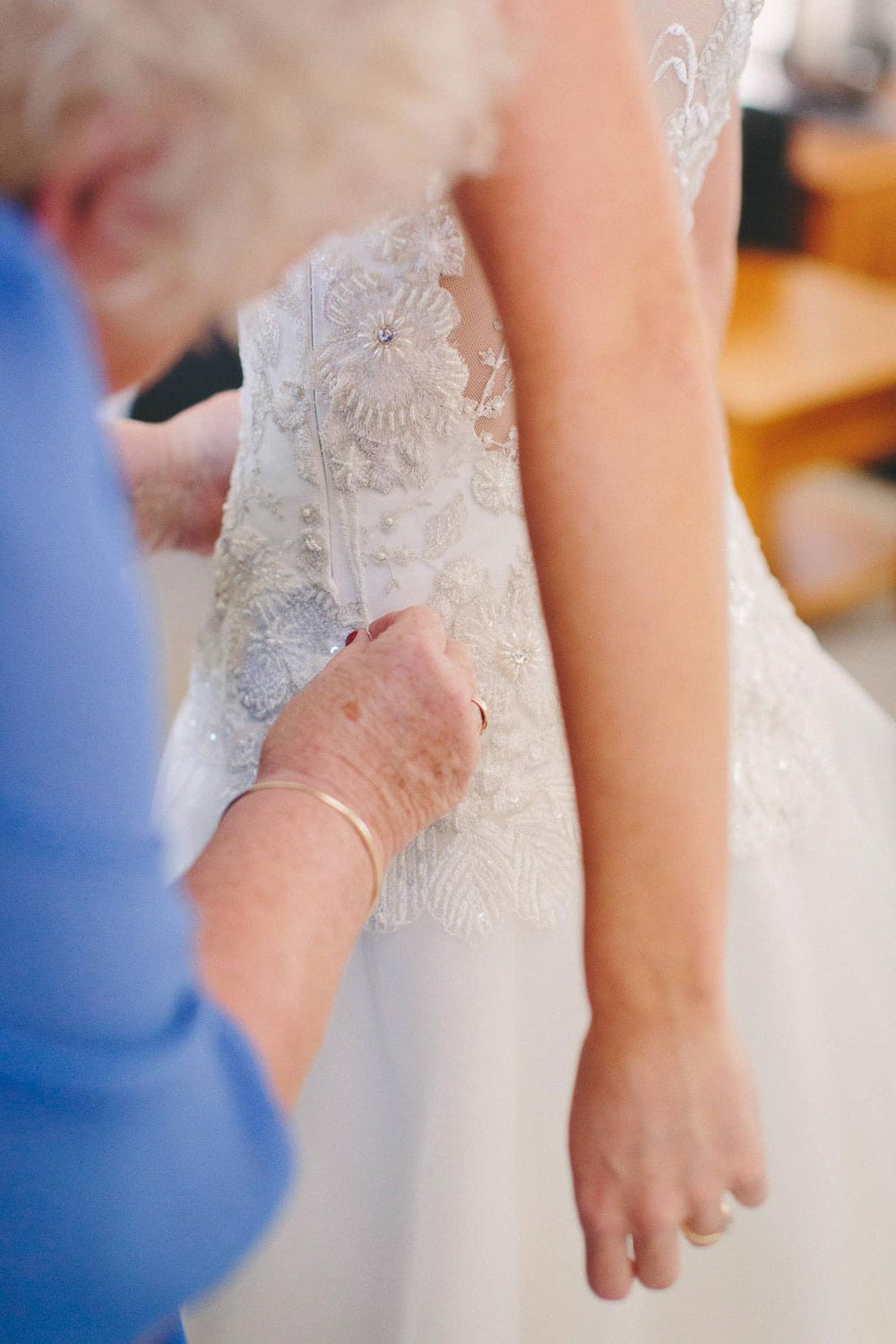 Real Weddings | Vinka Design | Real Brides Wearing Vinka Gowns | Louise and Ryan - Louise final dress touches