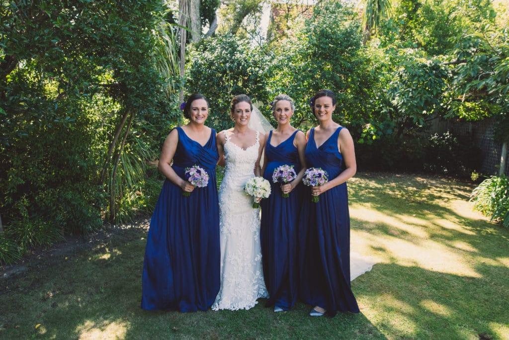 Real Weddings | Vinka Design | Real Brides Wearing Vinka Gowns | Claire and Paul - Claire and bridesmaids in gardens