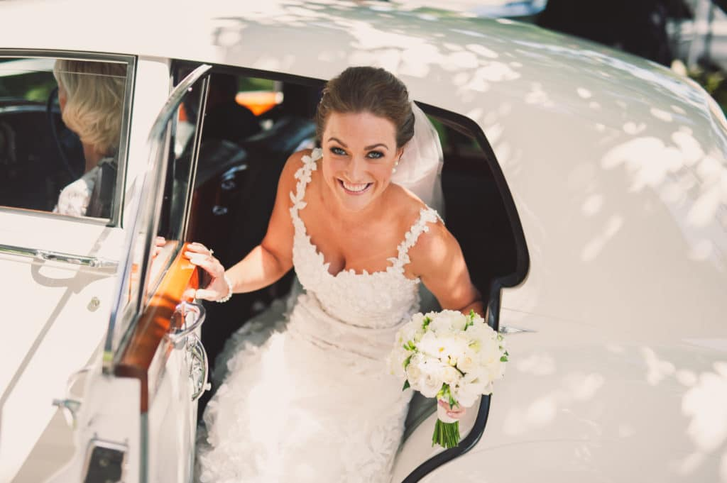 Real Weddings | Vinka Design | Real Brides Wearing Vinka Gowns | Claire and Paul - Claire exiting car