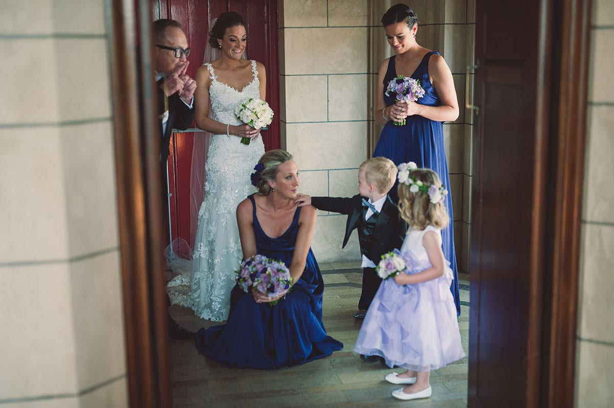 Real Weddings | Vinka Design | Real Brides Wearing Vinka Gowns | Claire and Paul - Claire with bridesmaids and flower girl and boy