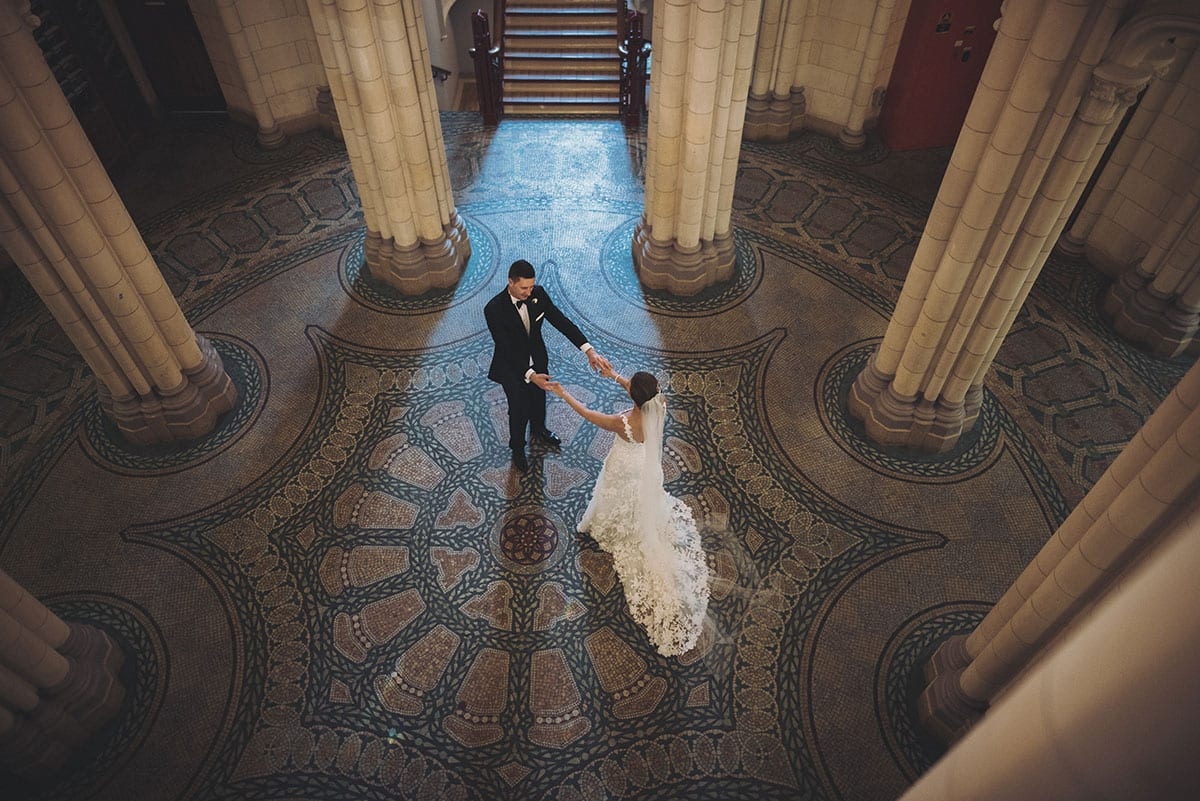 Real Weddings | Vinka Design | Real Brides Wearing Vinka Gowns | Claire and Paul in the Auckland University clock tower