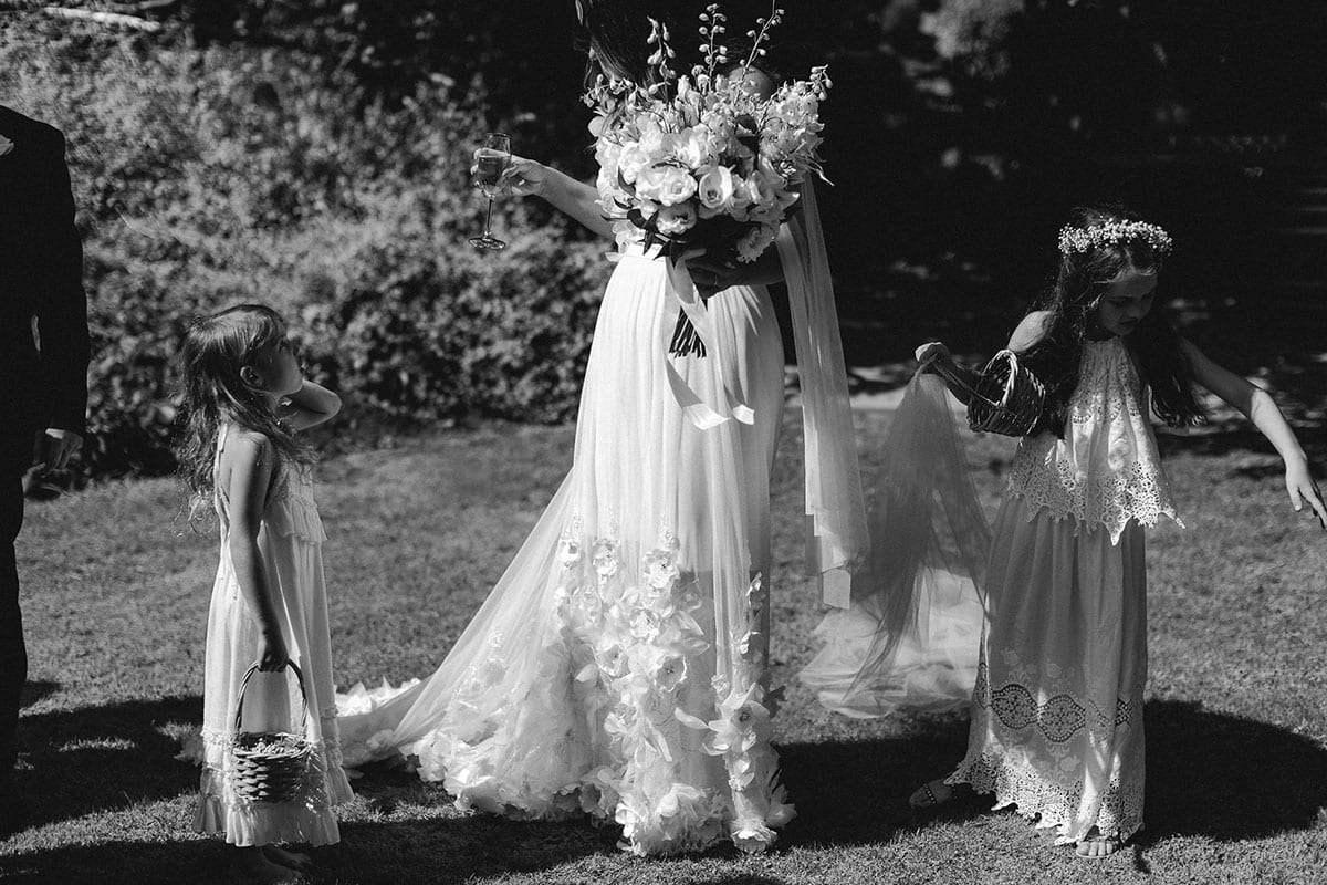 Real Weddings | Vinka Design | Real Brides Wearing Vinka Gowns | Candice and Michael - Candice bespoke dress with flower girls