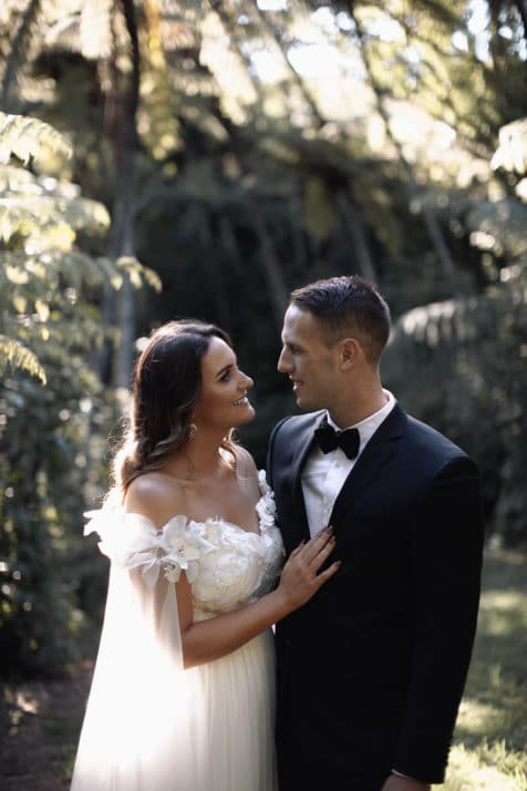 Real Weddings | Vinka Design | Real Brides Wearing Vinka Gowns | Candice and Michael close up in Ataahua Gardens Venue in Tauranga