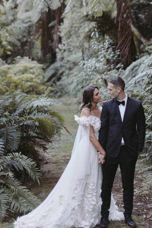 Real Weddings | Vinka Design | Real Brides Wearing Vinka Gowns | Candice and Michael in Ataahua Gardens Venue in Tauranga - bespoke dress displayed