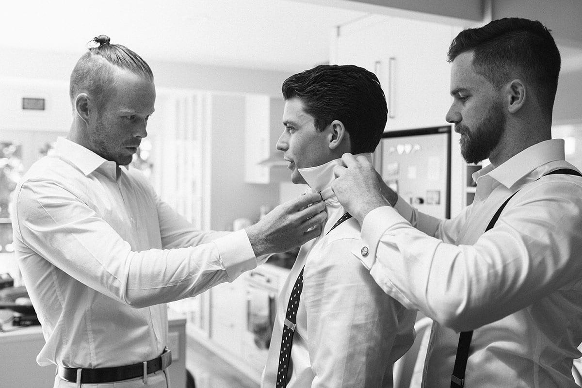 Real Weddings | Vinka Design | Real Brides Wearing Vinka Gowns | Kat and Logan - groom getting ready