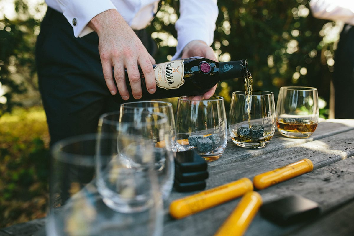 Real Weddings | Vinka Design | Real Brides Wearing Vinka Gowns | Kat and Logan - whisky being poured