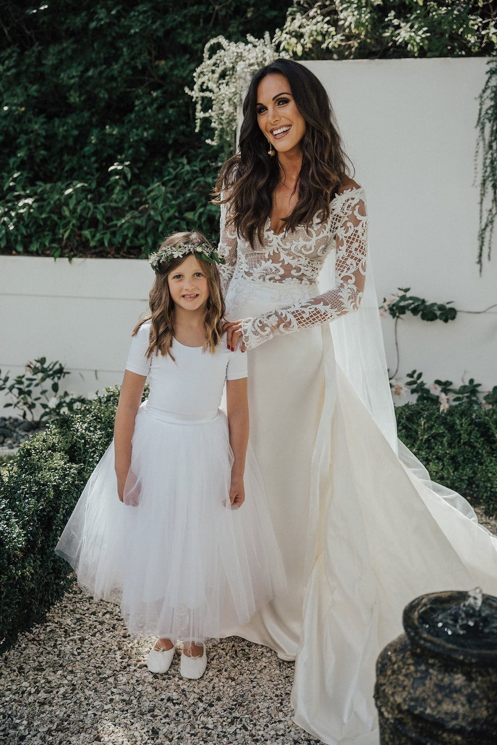 Real Weddings | Vinka Design | Real Brides Wearing Vinka Gowns | Hannah and Campbell - Hannah with little flower girl