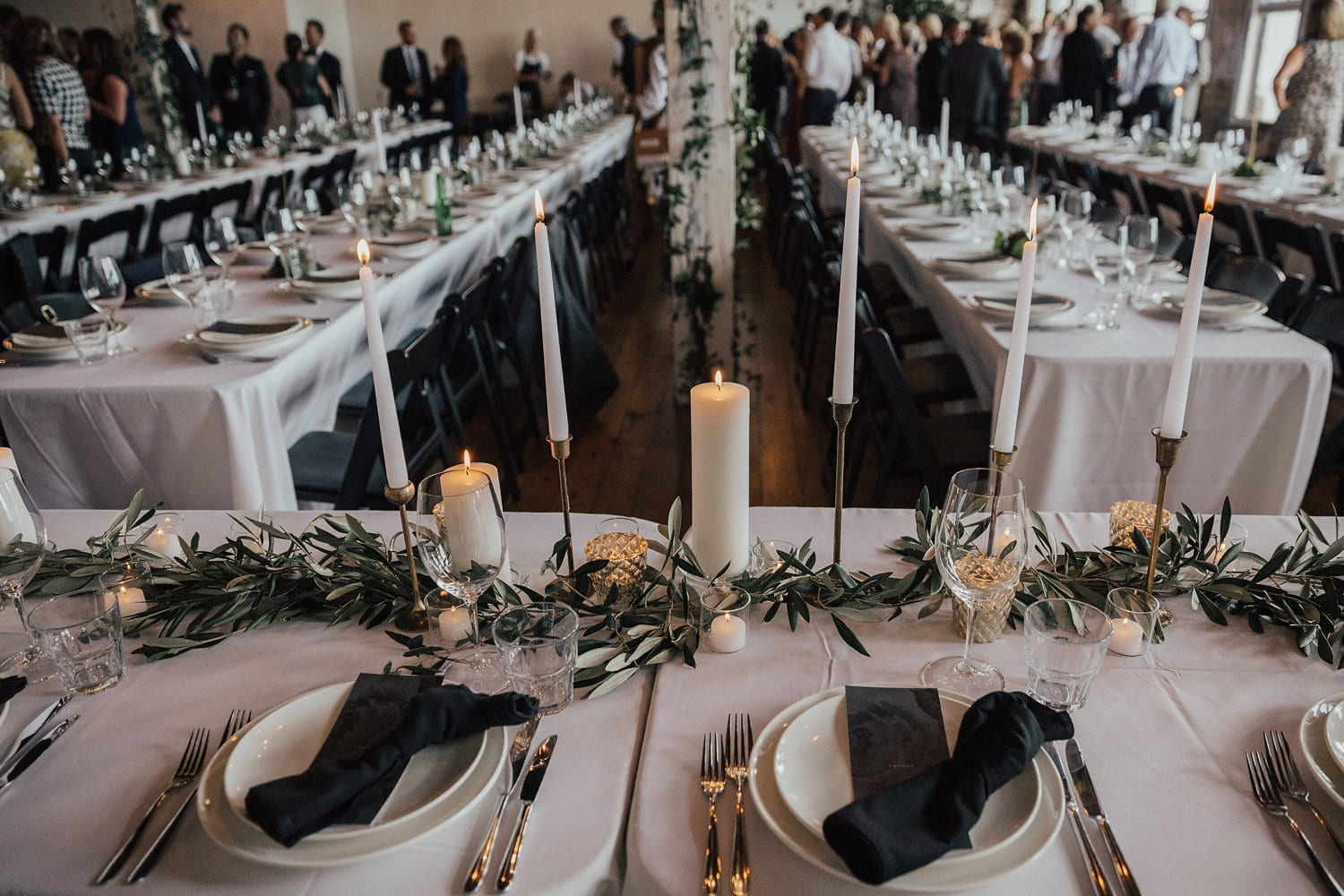 Real Weddings | Vinka Design | Real Brides Wearing Vinka Gowns | Hannah and Campbell - reception tables set up guests arriving