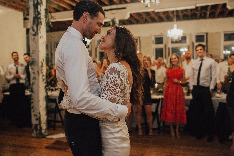 Real Weddings | Vinka Design | Real Brides Wearing Vinka Gowns | Hannah and Campbell dancing at reception