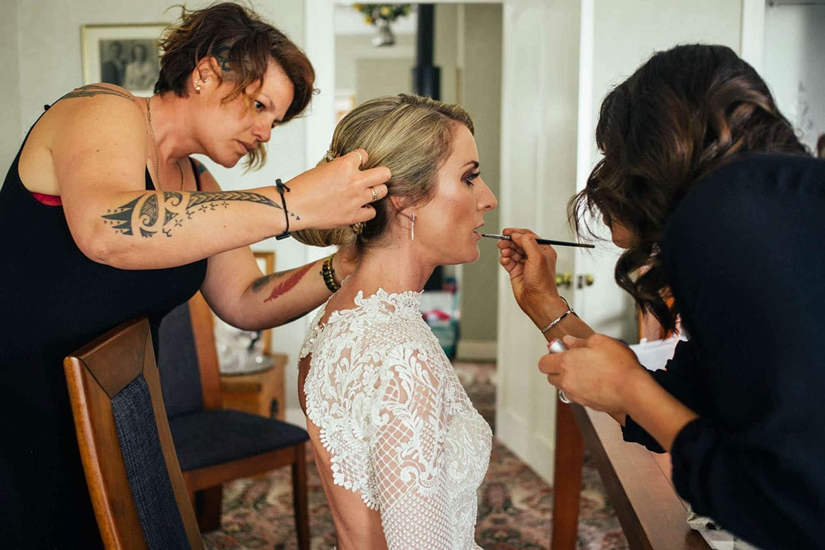 Real Weddings | Vinka Design | Real Brides Wearing Vinka Gowns | Hayley and Tonchi - Hayley having hair and make up done