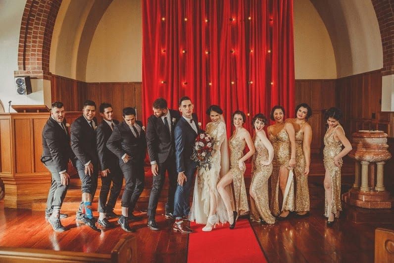 Real Weddings | Vinka Design | Real Brides Wearing Vinka Gowns | Cecilia and Brendan bridal party fun showing legs