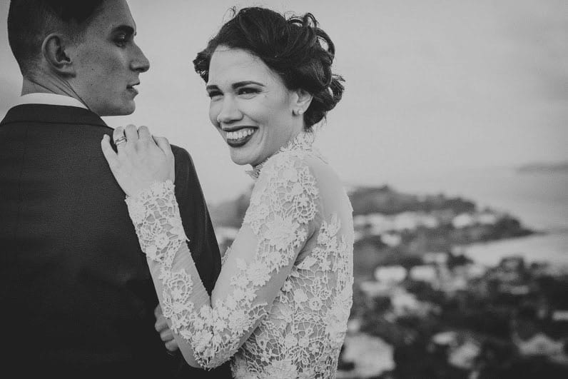 Real Weddings | Vinka Design | Real Brides Wearing Vinka Gowns | Cecilia and Brendan close up black and white - lace detail on sleeves