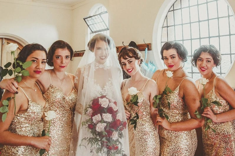 Real Weddings | Vinka Design | Real Brides Wearing Vinka Gowns | Cecilia and Brendan -Cecilia and bridesmaids
