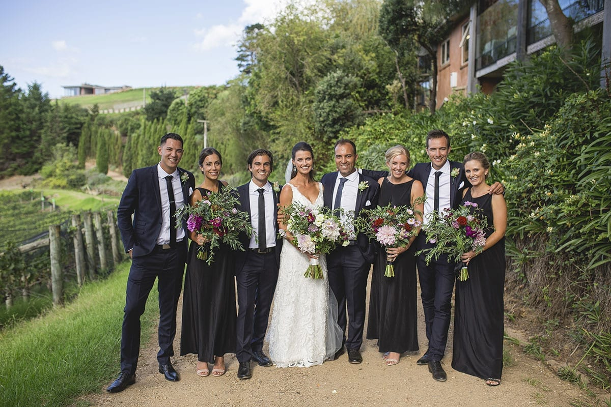 Real Weddings | Vinka Design | Real Brides Wearing Vinka Gowns | Clare and Mark with bridal party outdoors
