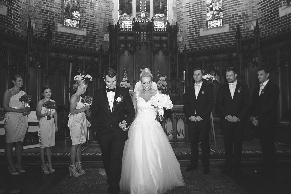 Real Weddings | Vinka Design | Real Brides Wearing Vinka Gowns | Kristen and Ben black and white with bridal party