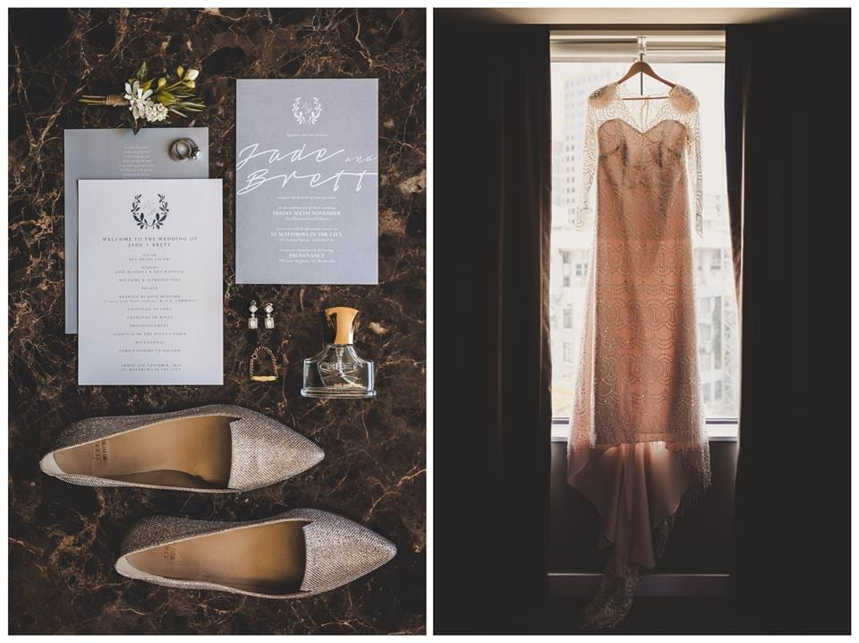 Real Weddings | Vinka Design | Real Brides Wearing Vinka Gowns | Jade and Brett - Jade's hanging dress and shoes