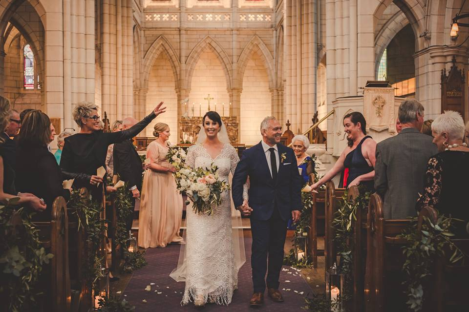 Real Weddings | Vinka Design | Real Brides Wearing Vinka Gowns | Jade and Brett church wedding with confetti