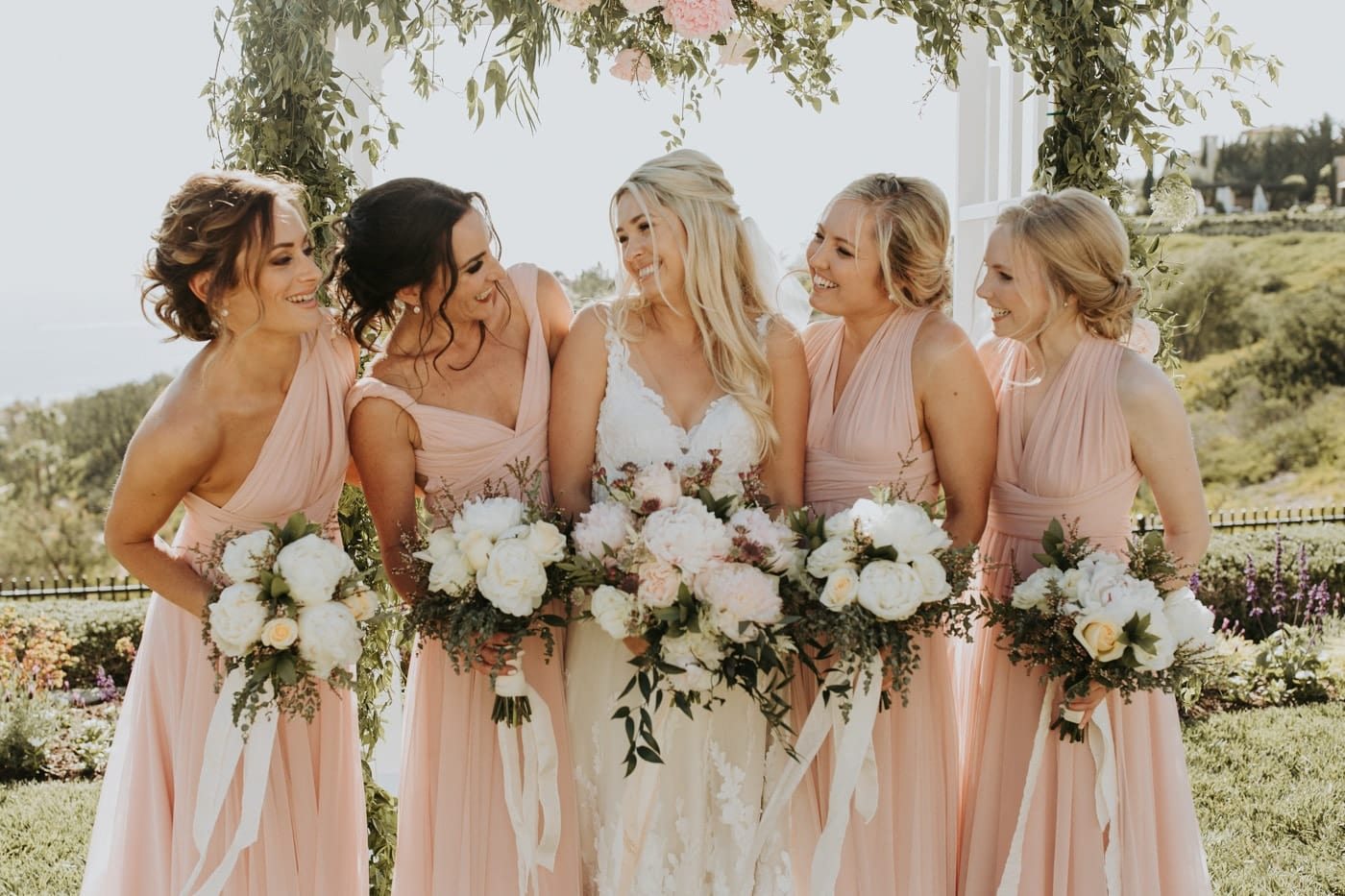 Real Weddings | Vinka Design | Real Brides Wearing Vinka Gowns | Camille and Aaron - Bride and bridesmaids