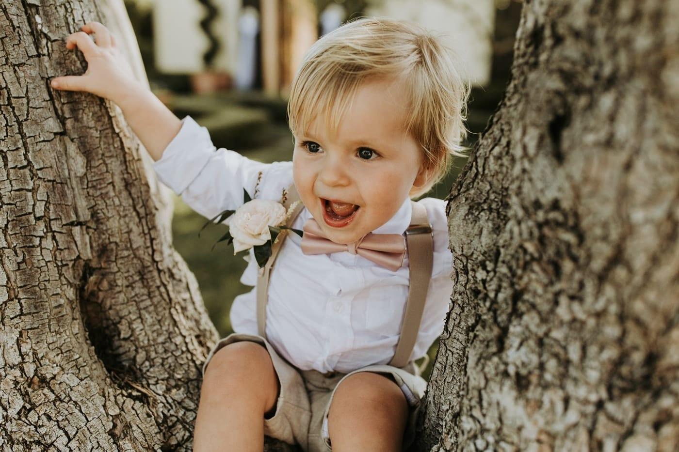 Real Weddings | Vinka Design | Real Brides Wearing Vinka Gowns | Camille and Aaron's little boy in tree