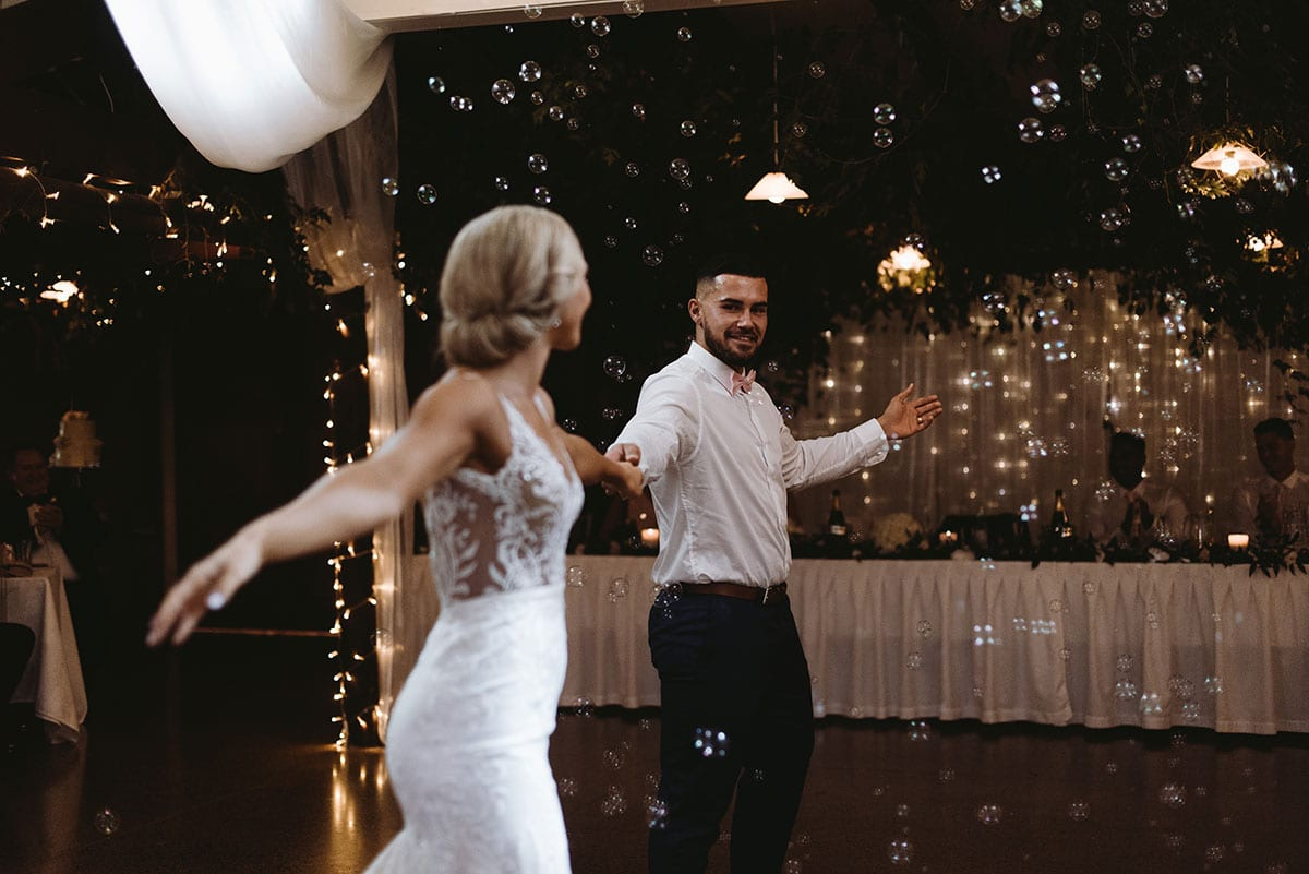 Real Weddings | Vinka Design | Real Brides Wearing Vinka Gowns | Nikki and Korey dance at reception