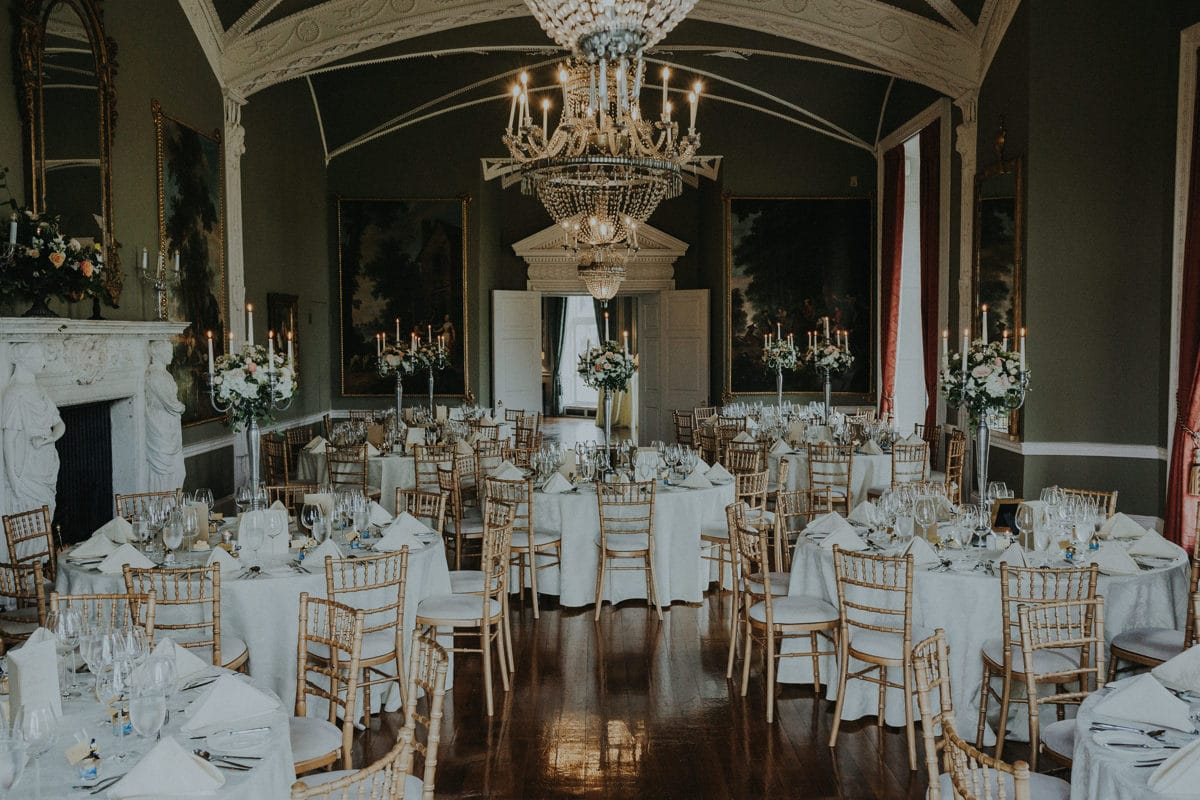 Real Weddings | Vinka Design | Real Brides Wearing Vinka Gowns | Paige and Ciaran wedding reception set up in Irish castle