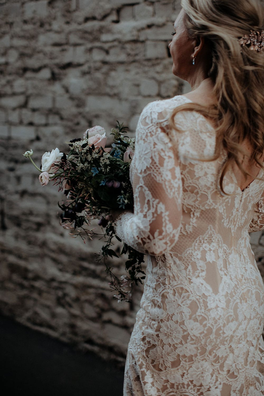 Vinka Design Features Real Weddings - Vinka Design Features Real Weddings - Jan in custom designed wedding dress. Sheer stunning back lace detail.