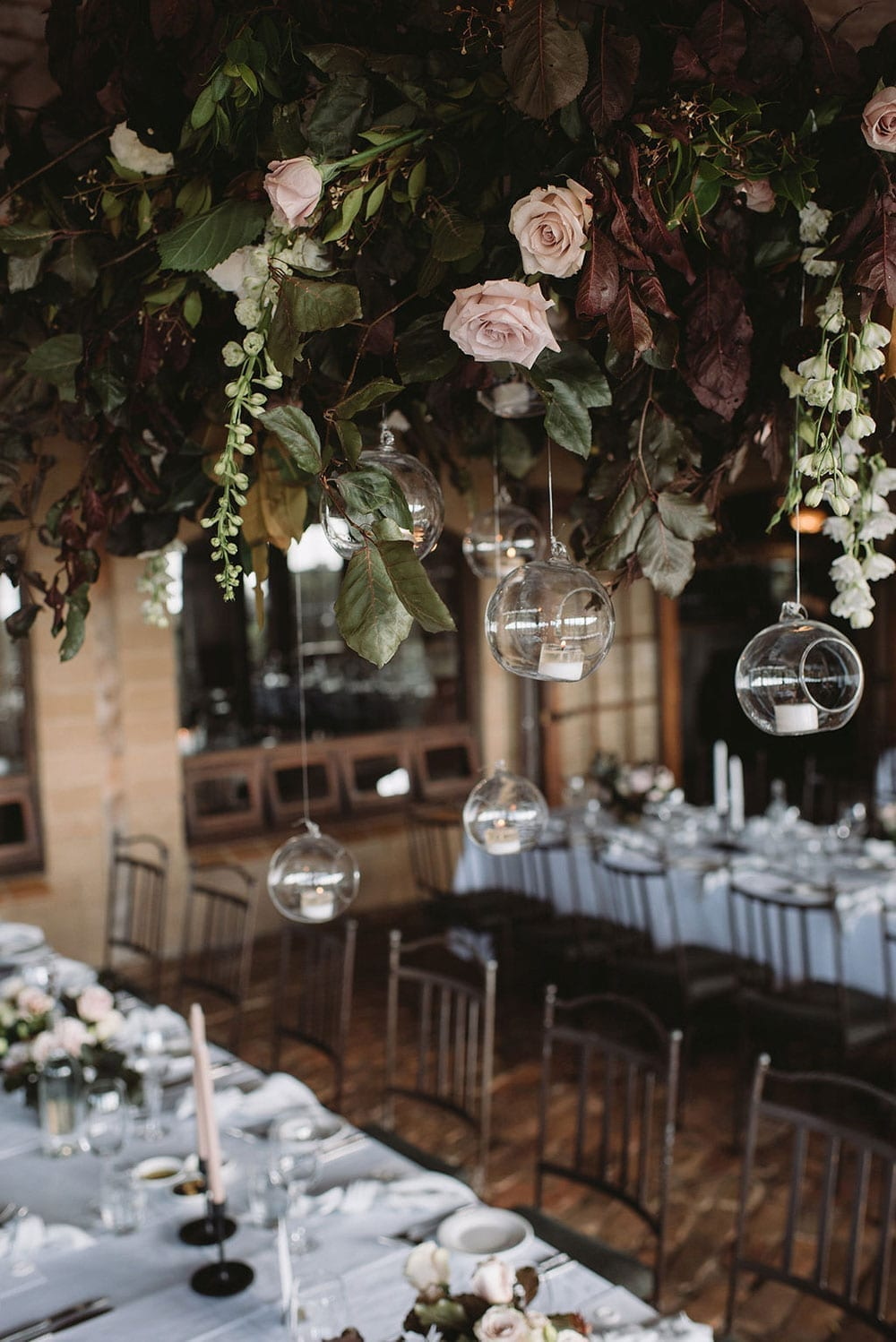 Vinka Design Features Real Weddings - hanging floral decoration at reception