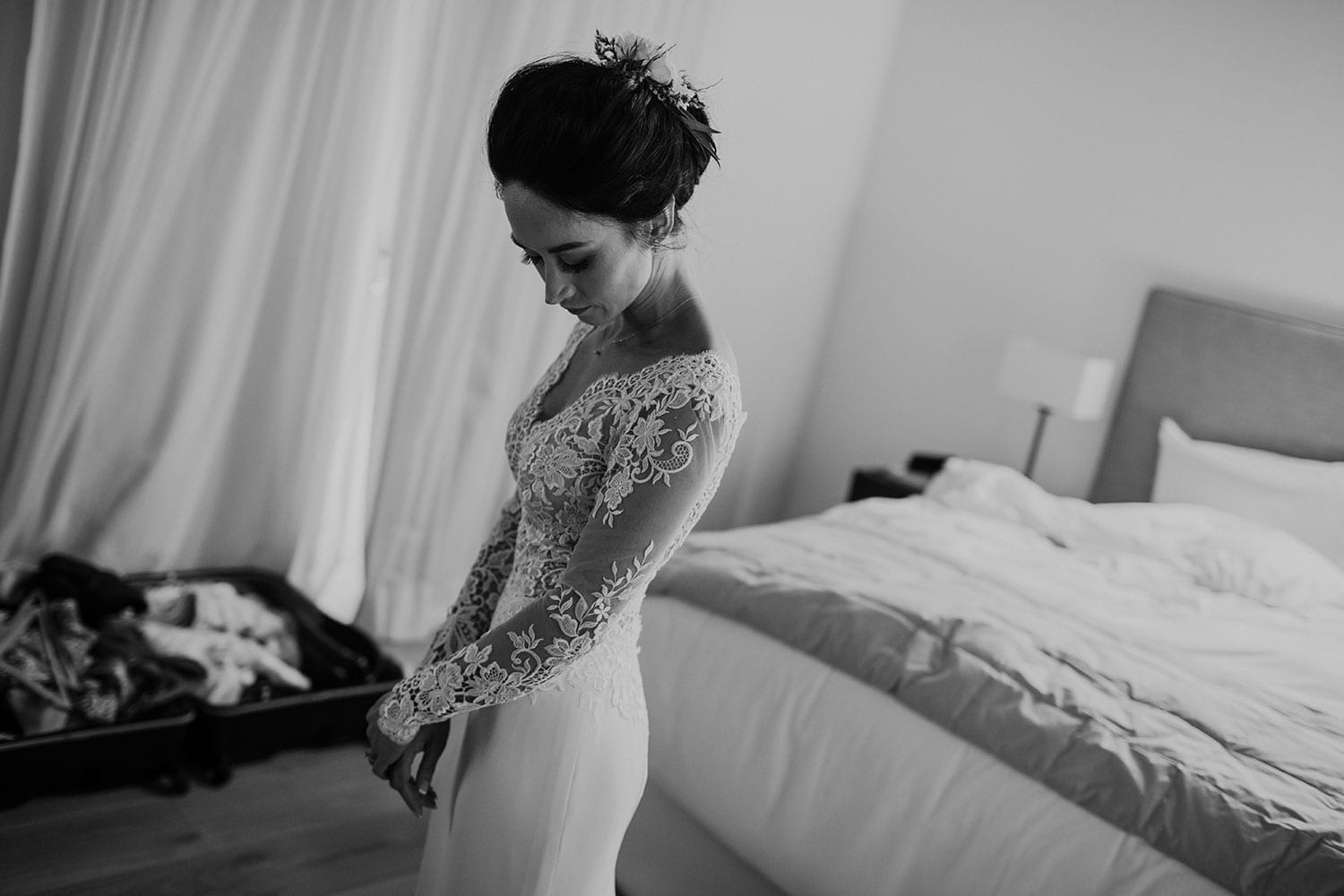 Vinka Design Features Real Weddings - Bride in bespoke custom made wedding gown in black and white