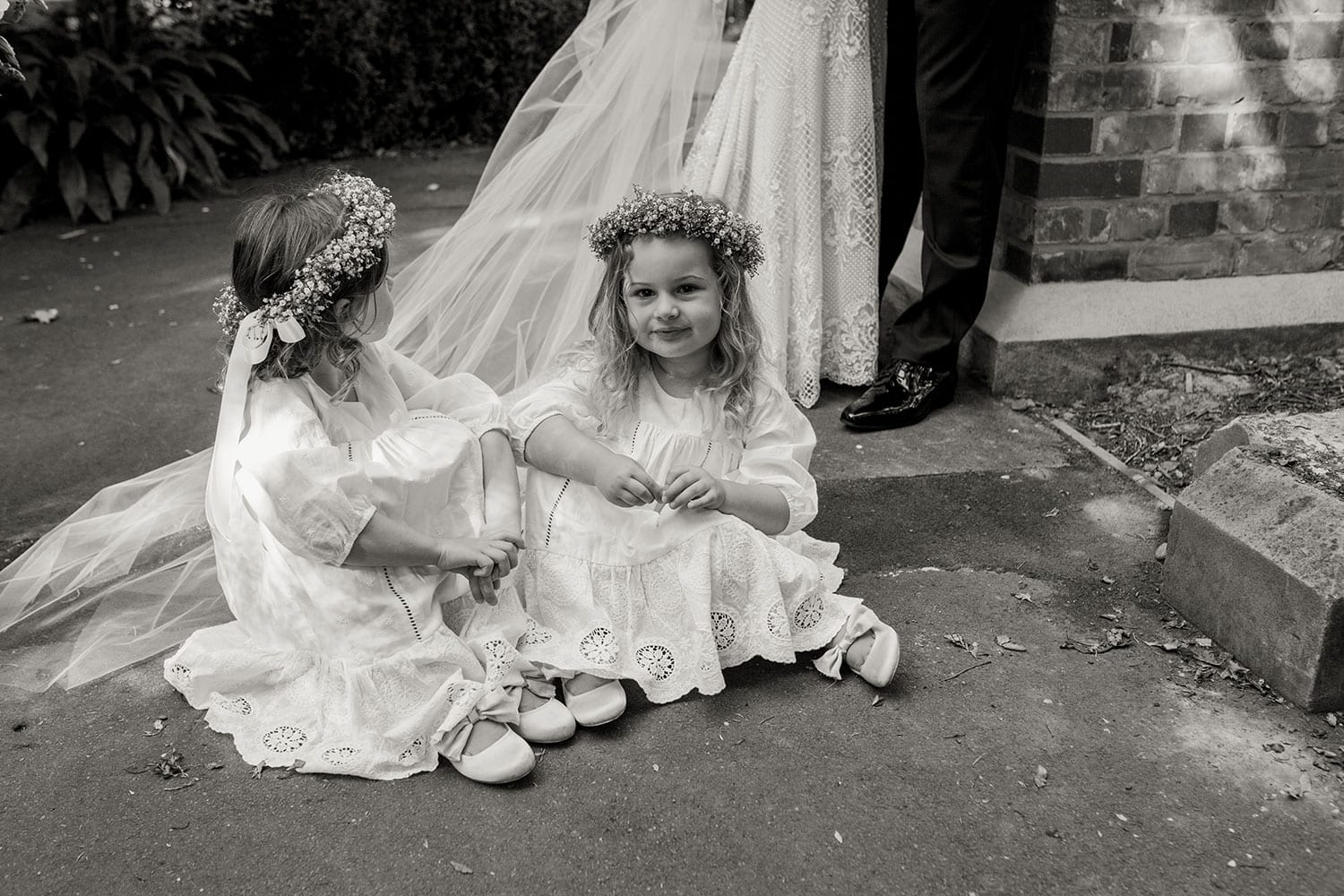 Vinka Design Features Real Weddings - flower girls in black and white