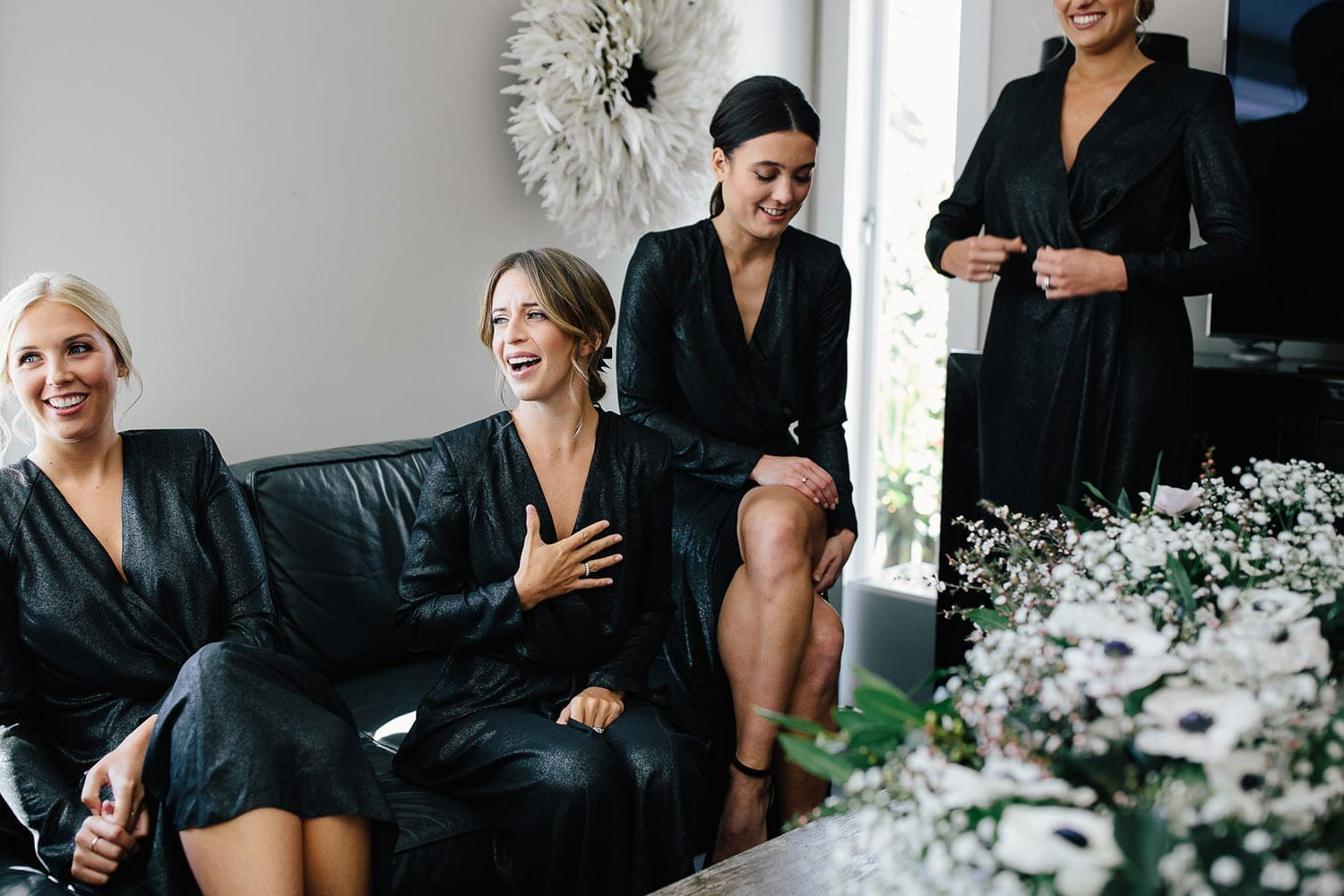 Vinka Design Features Real Weddings - bride with bridesmaids wedding morning in black satin robes