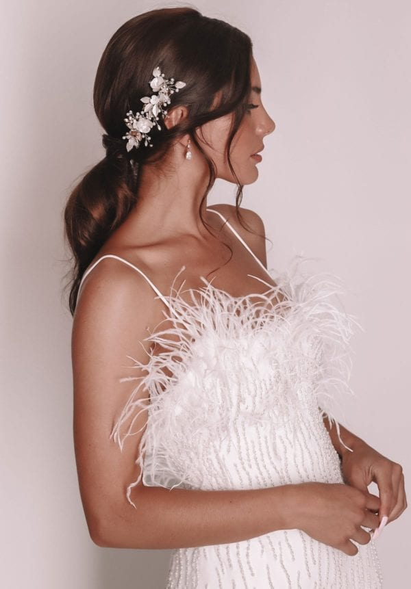 Vinka Design Bridal Accessories - Bridal headpiece - Ari-gold - available from Vinka Design Auckland bridal store.