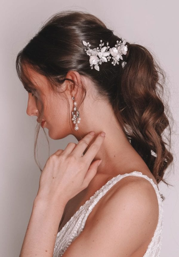 Vinka Design Bridal Accessories - Bridal headpiece - Ari-silver - available from Vinka Design Auckland bridal store.