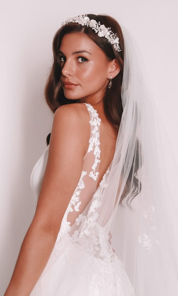 Vinka Design Bridal Accessories - Bridal headpiece - Aslin silver - available from Vinka Design Auckland bridal store. Headband, veil