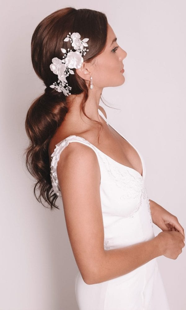 Vinka Design Bridal Accessories - Bridal headpiece - Eden - Silver - available from Vinka Design Auckland bridal store.