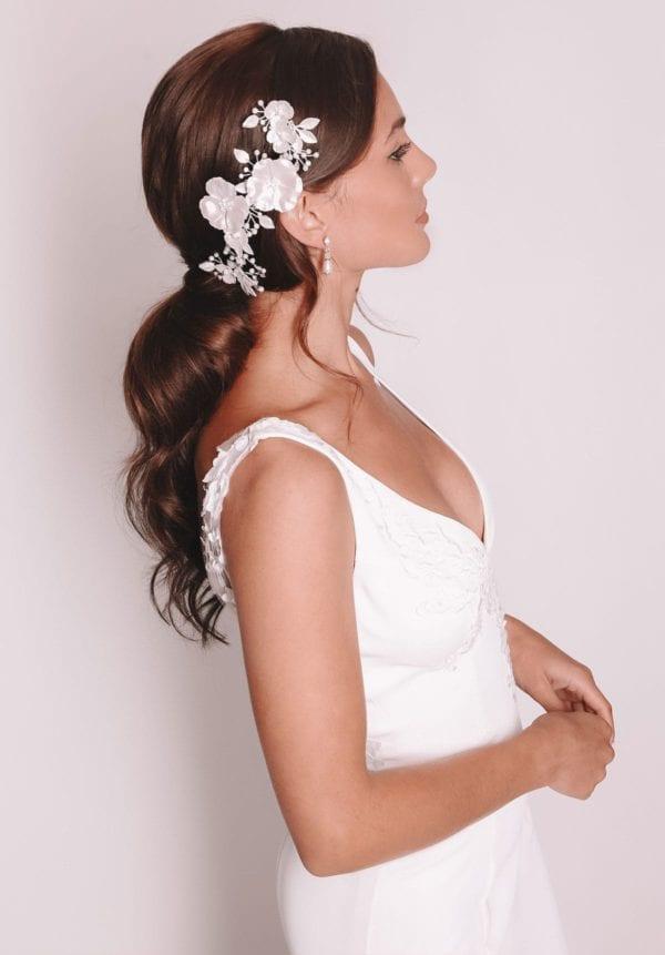 Vinka Design Bridal Accessories - Bridal headpiece - Eden - Silver - available from Vinka Design Auckland bridal store.