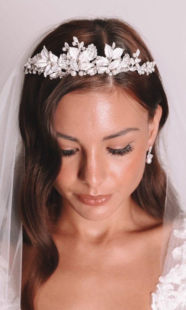 Vinka Design Bridal Accessories - Bridal headpiece - Juniper - Silver - available from Vinka Design Auckland bridal store.