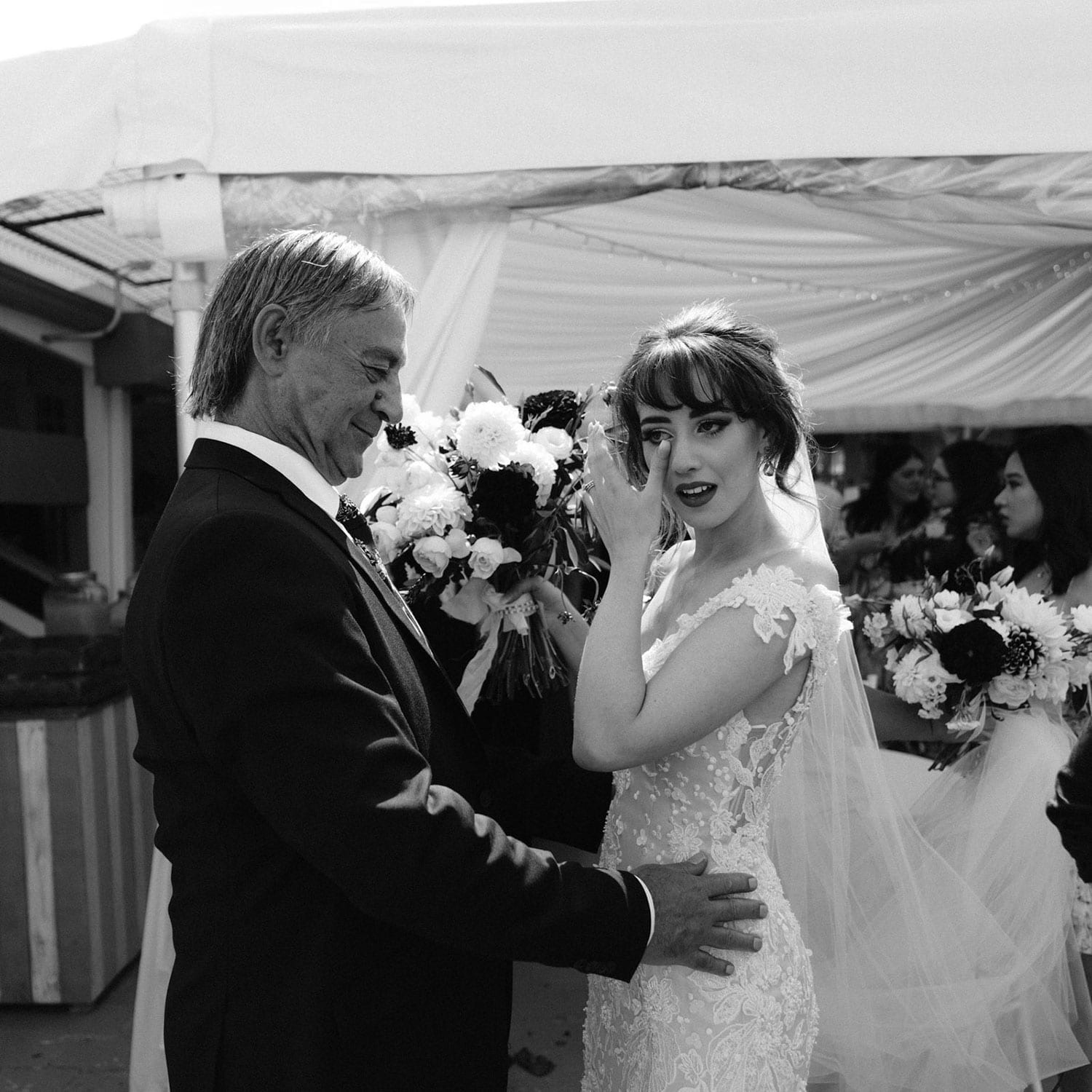 Vinka Design Features Real Weddings - bride wearing custom made beaded lace Sasha gown. Stunning, emotional, black and white