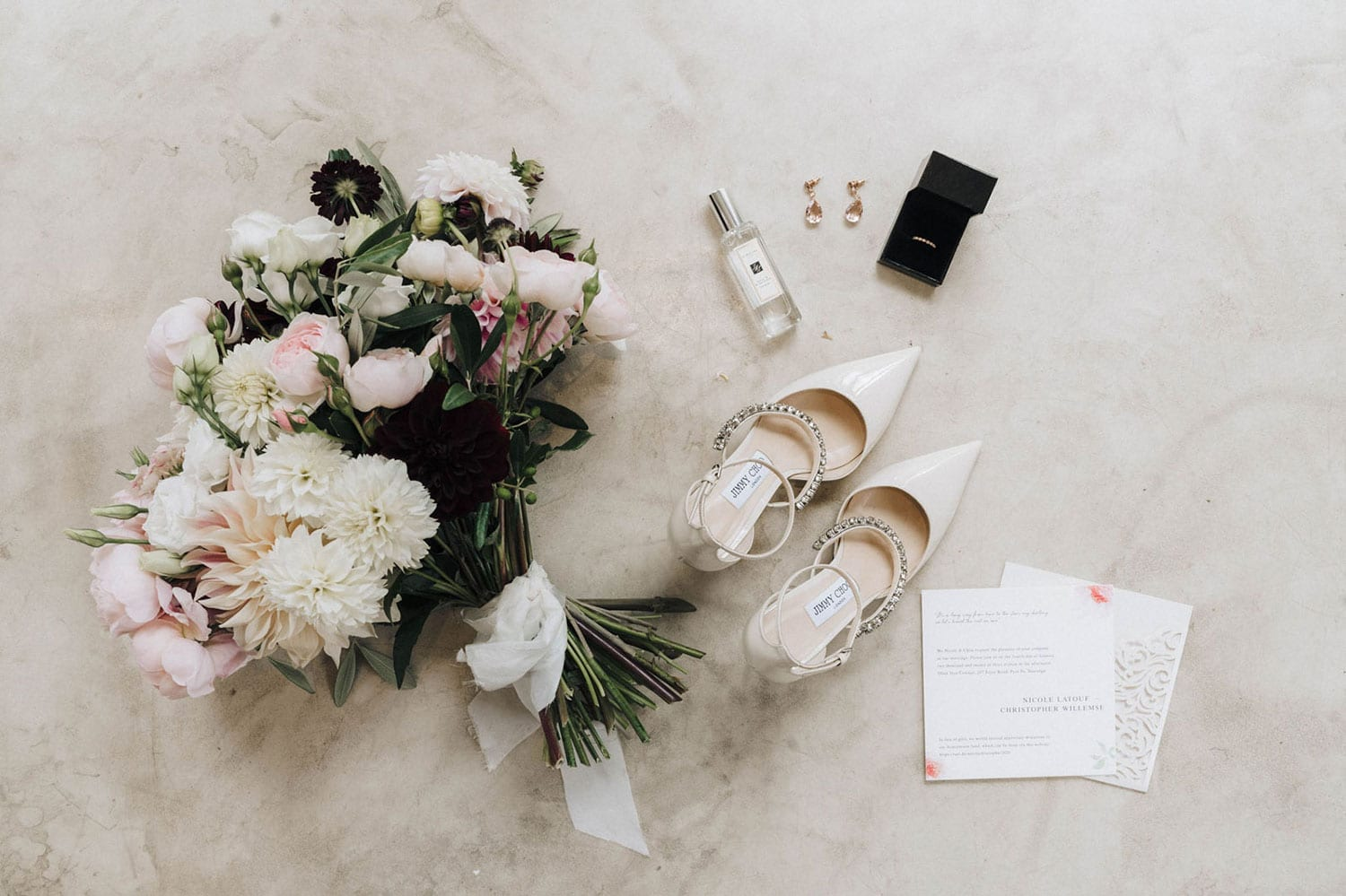 Vinka Design Features Real Weddings - bouquet, shoes, perfume and invitation