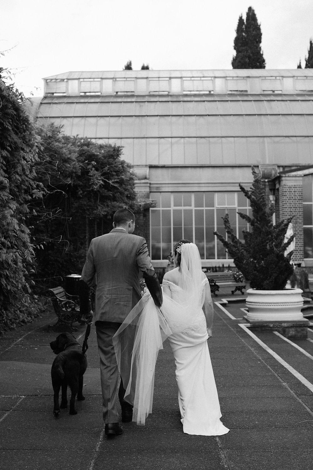 Vinka Design Features Real Weddings - bride wearing custom made lace wedding gown. Bride, groom and dog