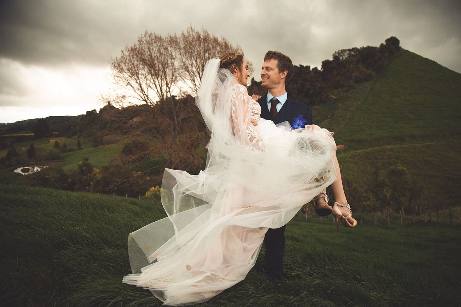 Vinka Design Features Real Weddings - bride in custom made gown, a combination of Isabelle and Ivy from our Heart of Havana collection. Groom picks up bride