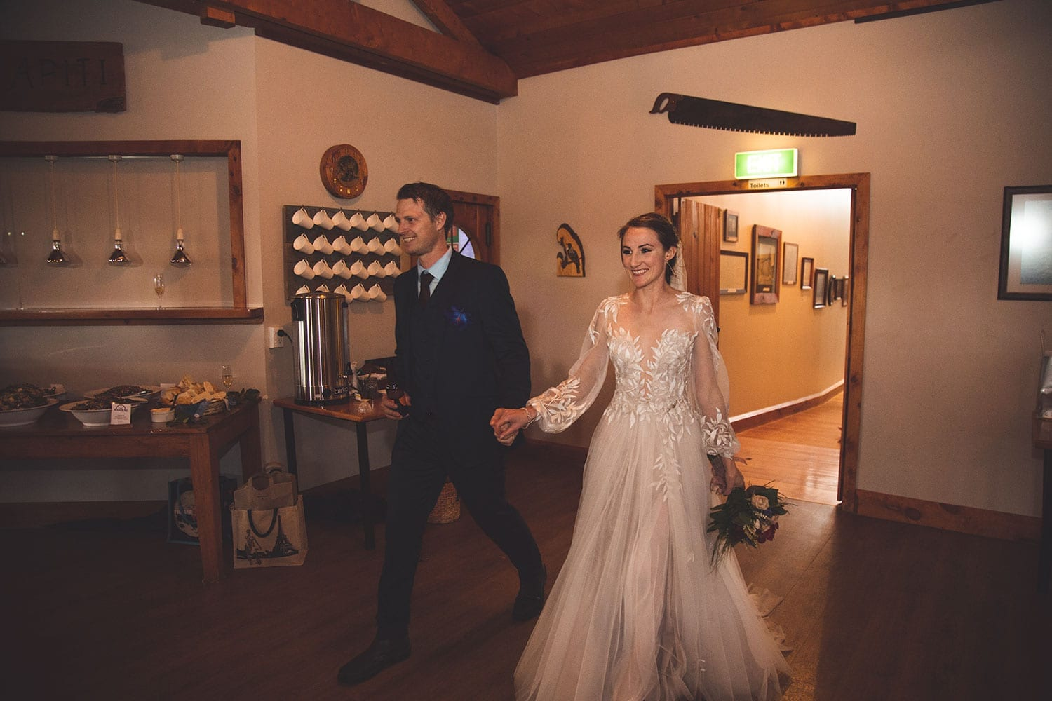 Vinka Design Features Real Weddings - bride in custom made gown, a combination of Isabelle and Ivy from our Heart of Havana collection. Bride and groom enter reception