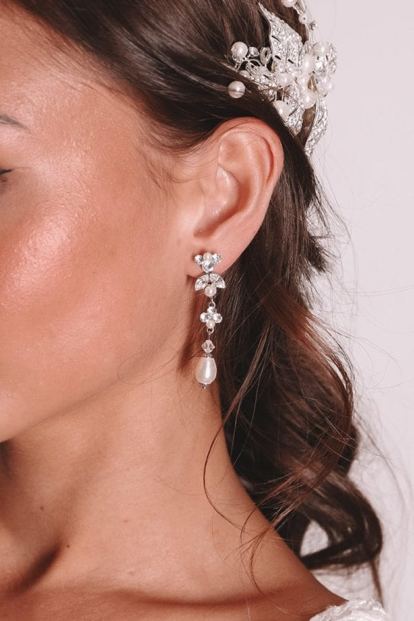 Vinka Design Bridal Accessories - Bridal earrings - Safron - available from Vinka Design Auckland bridal store. pearl drop