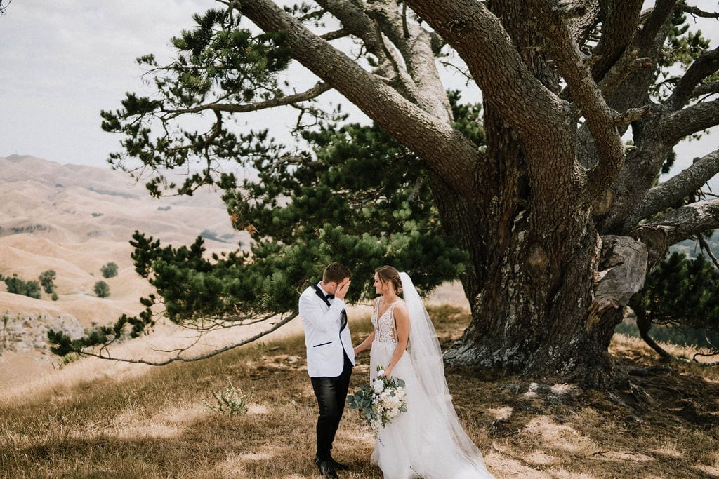 Vinka Design Features Real Weddings - bride in custom version of the Isabelle gown from our Heart of Havana collection. A fitted nude based bodice with delicate 3D beaded flowers with hand beaded trim and a skirt of dreamy tulle. Bride and groom under tree with panoramic mountain