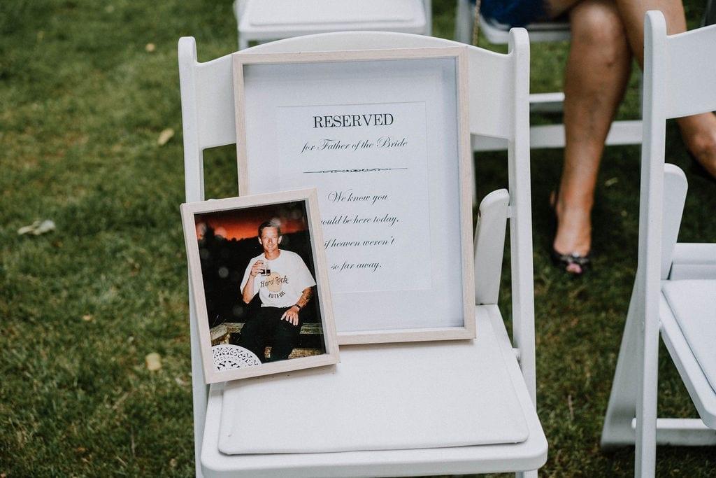 Vinka Design Features Real Weddings - in memoria seat reserved